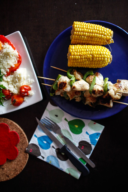 corn, chicken skewers