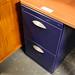 Blue metal and beech desk