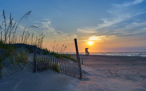 summer seascape beach sunrise fence wrightsvillebeach seaoats wilmingtonnc sonyilce7r sel2470z