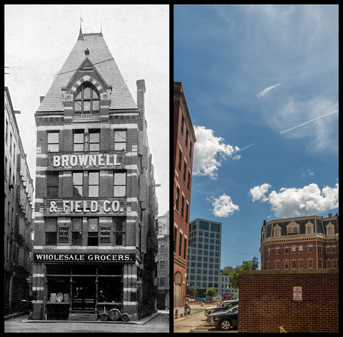 Brownell & Field c. 1910 and the parking lot that replaced it, 2014 by Eric Harrison, via I {heart} Rhody