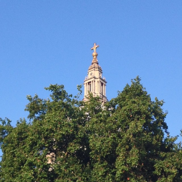 6:50am - the top of the dome, above the top of the trees #stpauls #sky #london #morning