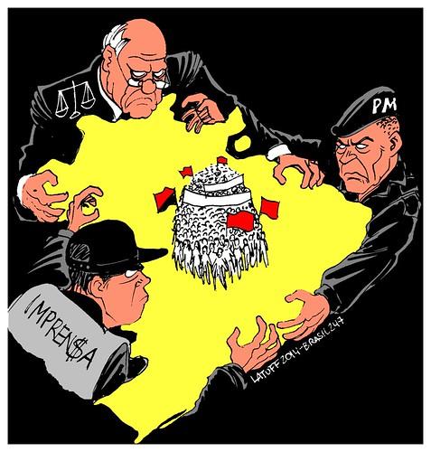 """Presunção de culpa: eis o """"estado democrático de direito"""" no Brasil!, por Carlos Latuff"""