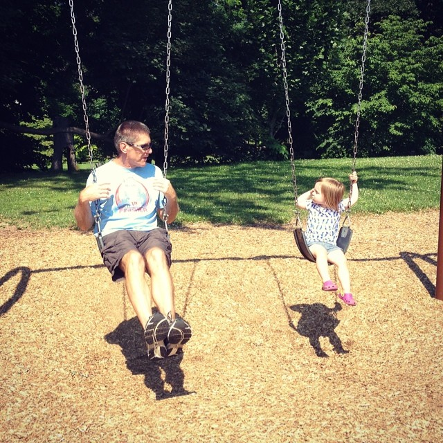 Swinging with grandpa (on our 2 playground walk).