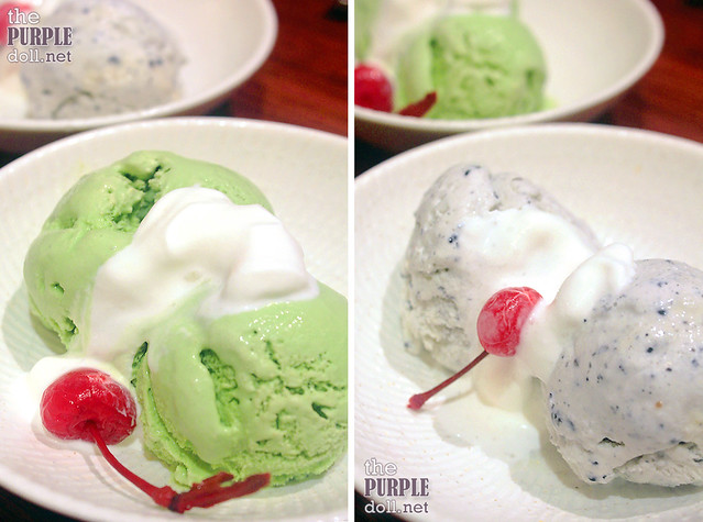 Ginzadon Green Tea Ice Cream (P110) and Black Sesame Ice Cream (P125)