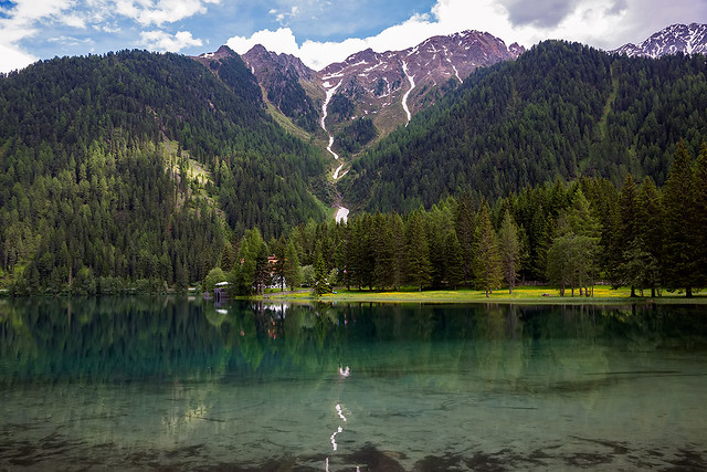 Antholzer See in South Tyrol, Italy.