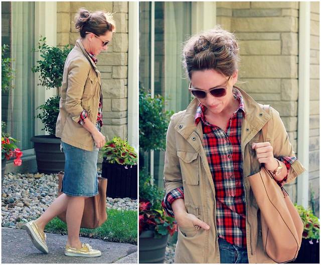how to style a denim midi skirt via Kristina J blog