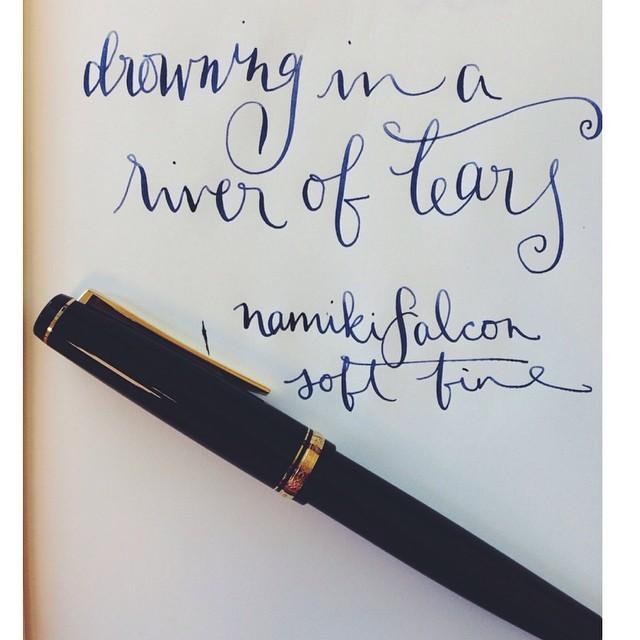 Drowning in a river of tears. Namiki Falcon. Soft Fine. (Cross Blue, I think.) @pilotpenusa @leuchtturm1917 #pilot #pilotpens #leuchtturm1917 #namiki #cross #fountainpen #fountainpens #fpgeeks #pens #penporn #penaddict #flex #flexnibs #ericclapton #mus