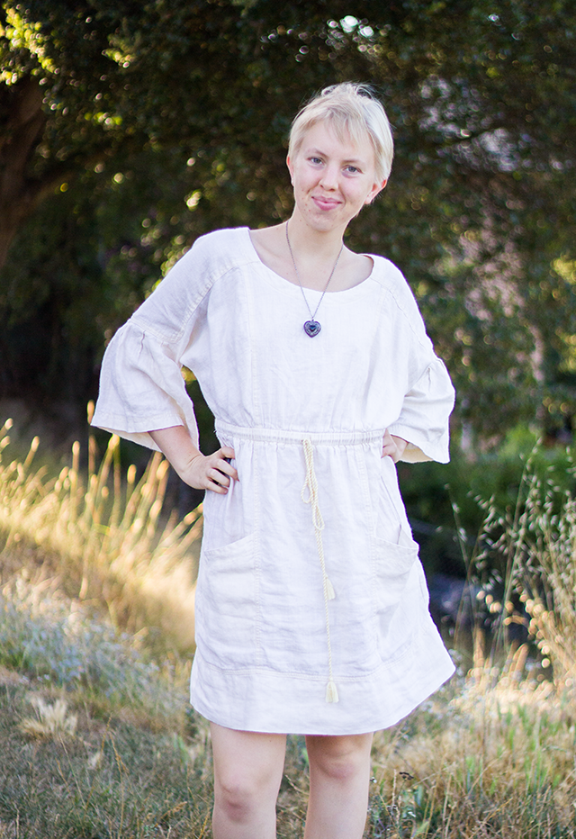 posing in the forest, white linen summer dress