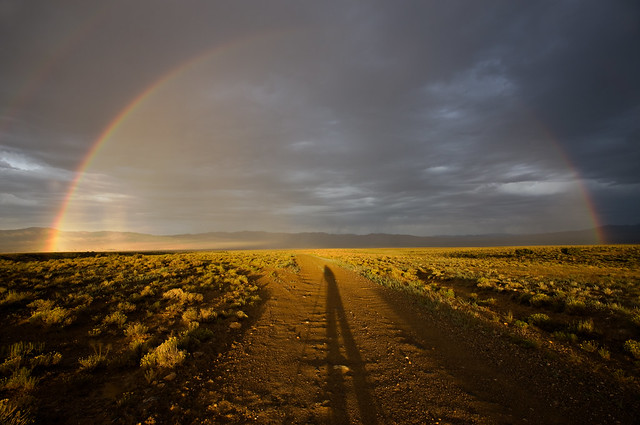 Shadow Selfie with Rainbow at Nevada's Great Basin National Park