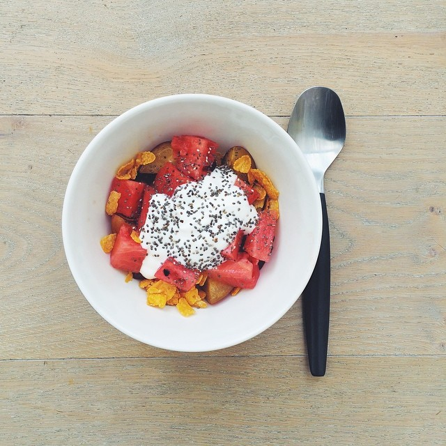 Breakfast fruit salads. Watermelon week: watermelon, prunes, chia seeds, corn flakes, yogurt. #instafood #instasalad #feelgood #healthy #healthyfood #saladpride #saladlove #saladjam #salad #vegetarian  #desk #veg   #cleaneat #eatclean #nutrition #nutritio