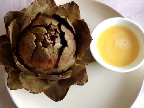 globe artichoke with lemon butter dip