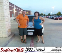 #HappyAnniversary to Morgan Hart on your 2013 #Kia #Soul from Blair Stouffer at Southwest KIA Rockwall!