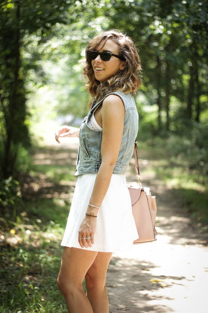 white sundress. white dress. denim vest. vest over dress. curly hair. gold sandals. dc style fashion blogger. 10