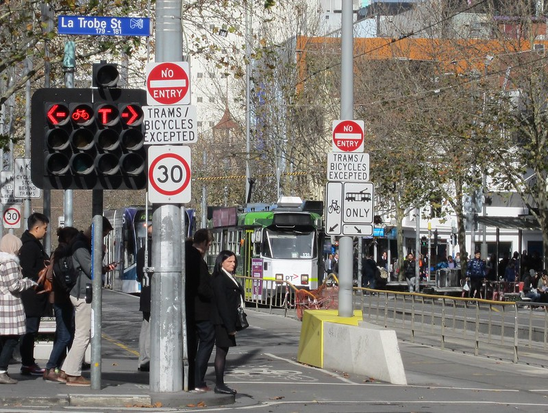 Traffic lights, corner Latrobe and Swanston Streets, Melbourne