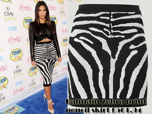 Balmain zebra print pencil skirt with a leather long sleeved crop top