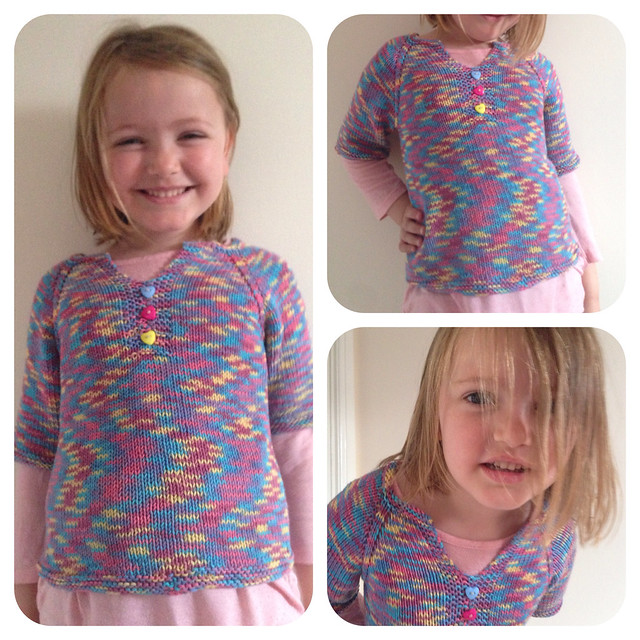 "Three years after knitting a ""toddler tunic"", it became a hippy t-shirt for a tall 5 year old!!!"