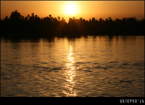 Sunset on the river nile