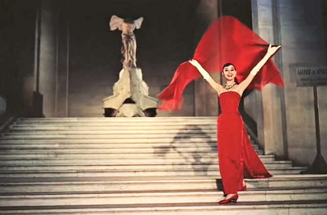 funny.face.audrey.red.gown.steps
