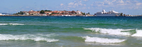 old sea panorama black beach town waves south bulgaria tenger nesebar nessebar fekete nesebur