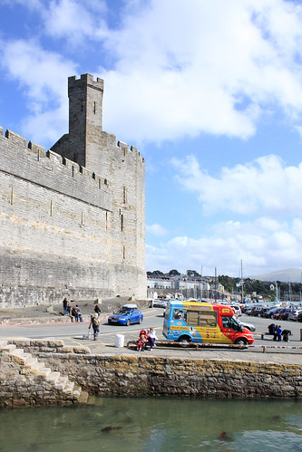 Castle tower and ice cream van
