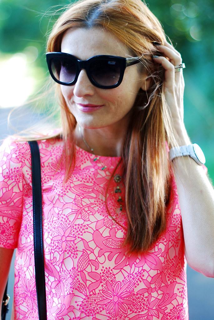 Neon pink floral top