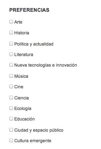 Lista de opciones de un formulario de web mobile