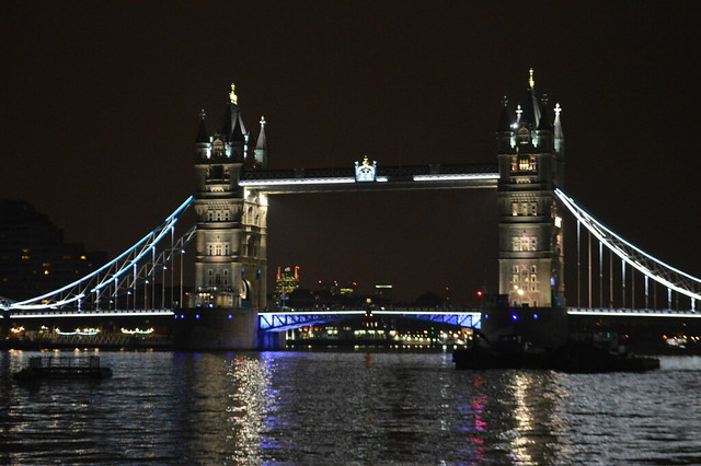This is a picture of tower bridge, London at night.