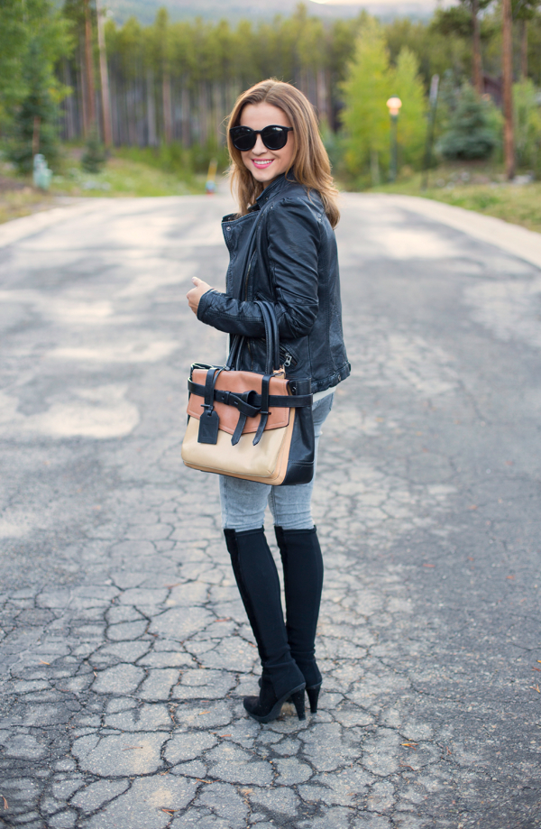 Stuart Weitzman Boots + Jeans + Leather Jacket