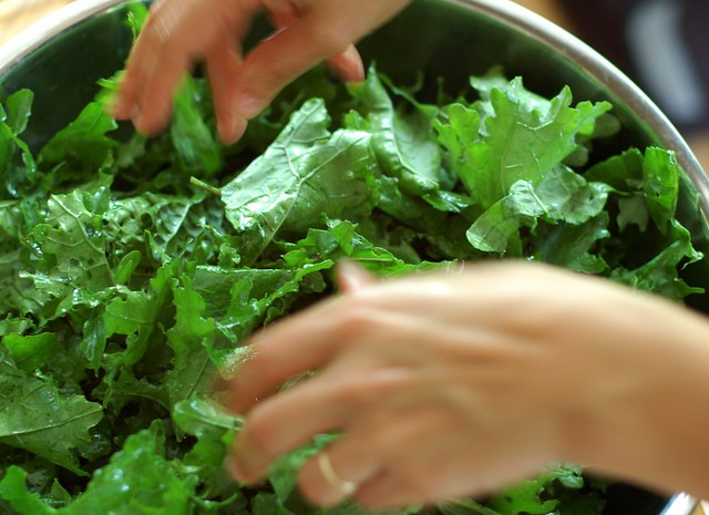 Tossing the kale chips by Eve Fox, the Garden of Eating, copyright 2014