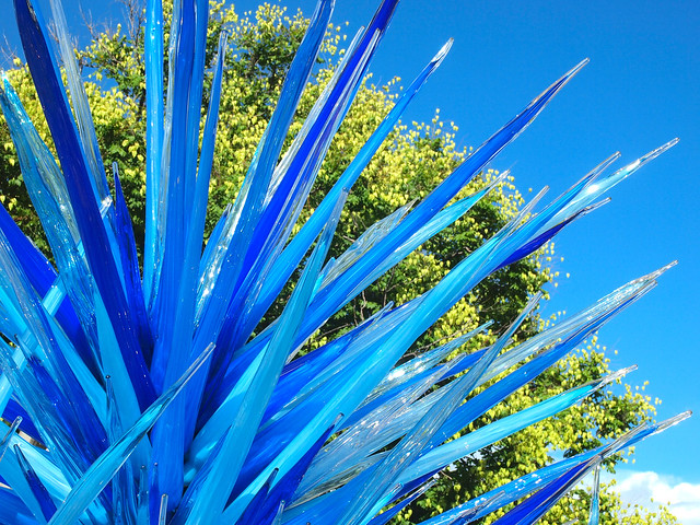 Blue Icicle Towers by Dale Chihuly at Denver Botanic Gardens