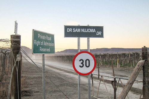 Sam Nujoma has his name even on private farming roads