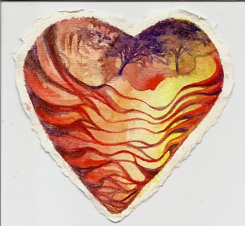 Tiger's Heart - Watercolor on Khadi Paper