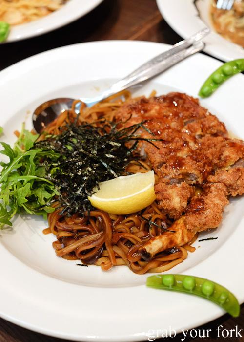 Chicken katsu and Japanese mushroom pasta in black miso sauce at Pasta Goma, Sydney