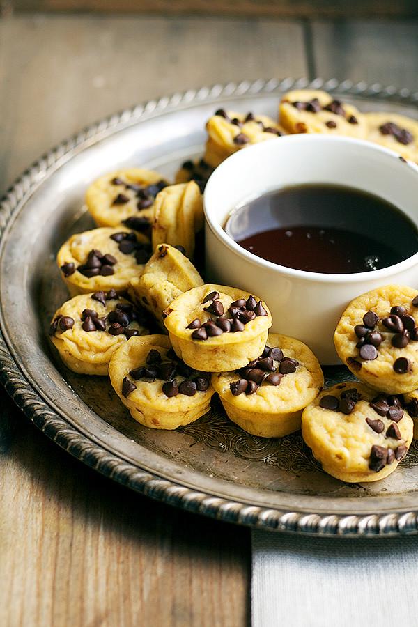 mini pumpkin chocolate chip pancake muffins