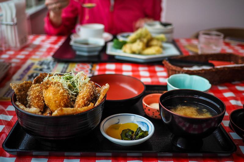 Pork-rice (buta-don) with fried oysters in Akkeshi, Hokkaido, Japan