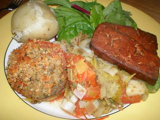 Basil-Scented Fennel and Tomato Gratin; Marinated Italian Tofu (VWAV/Vcon)