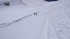 Lina poręczowa w zejściu na przełęcz Sedloviona.
