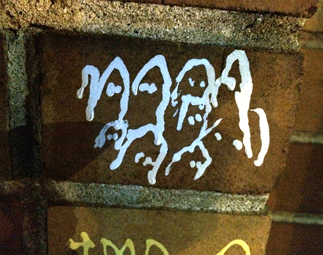 ghosts on brick, Oakland graffiti 9/13/2014