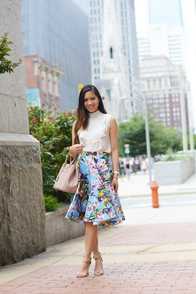 tropical floral midi skirt
