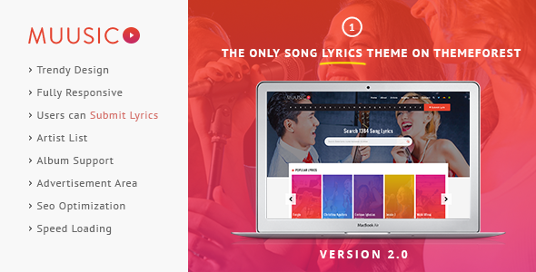 Muusico v2.5 - Song Lyrics WordPress Theme