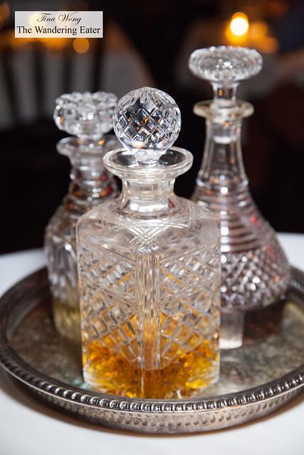 Crystal decanters of digestifs