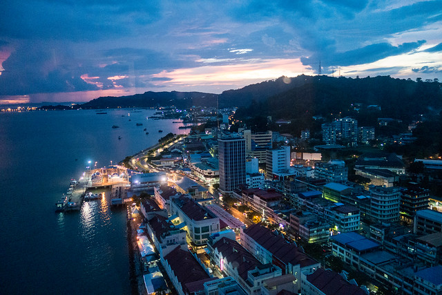 Sandakan view at night