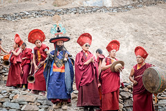 Monks performing a purification ritual.