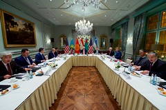 U.S. Secretary of State John Kerry, joined by Deputy Chief of Staff Tom Sullivan and Assistant Secretary of State for South and Central Asian Affairs Nisha Biswal, meets on December 7, 2016, at the Fairmont Vier Jahreszeiten Hamburg Hotel in Hamburg, Germany, with the 'C5+1' Foreign Ministers - from Kazakhstan, Uzbekistan, Tajikistan, Turkmenistan, and Kyrgyzstan - as the Secretary visits the German city to attend a meeting of the Organization for Security and Co-operation in Europe. [State Department photo/ Public Domain]
