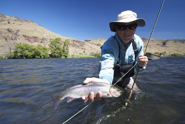Mike Stickel with a Deschutes River Rainbow