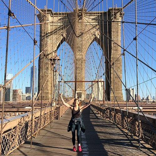 Så fin morgon! 6 km från hotellet, över Brooklyn Bridge och tillbaka. Väger nu upp alla donuts med lite blåbärschiapudding!