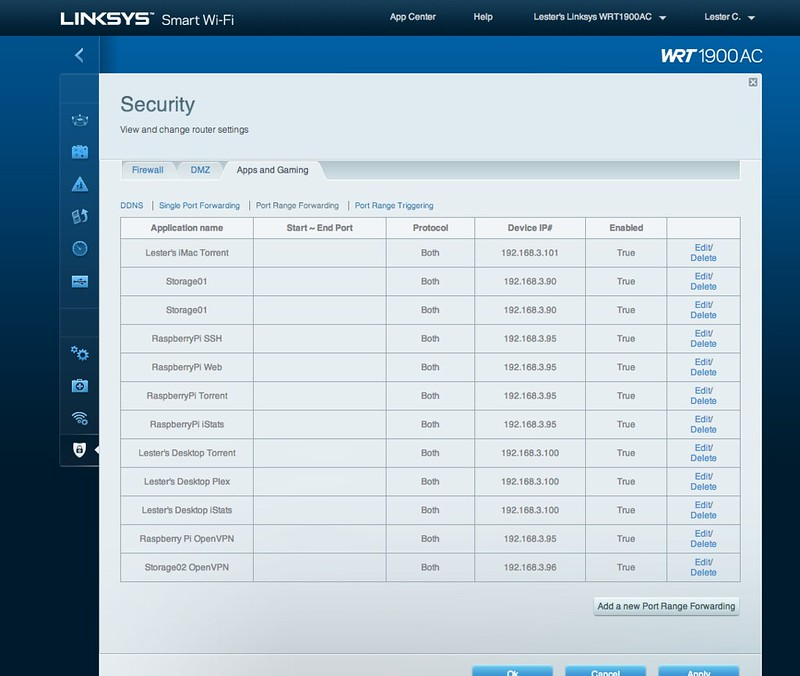 Linksys Smart Wi-Fi - Security - Port Range Forwarding