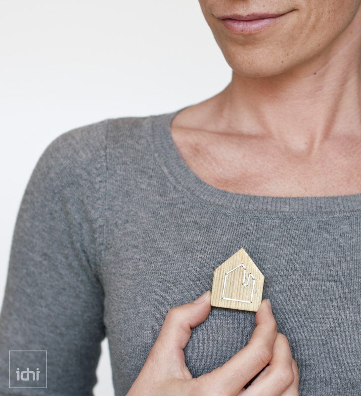 wooden house brooch in white 1