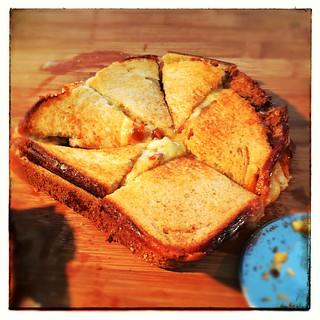 Cheese, onion, mushroom toastie