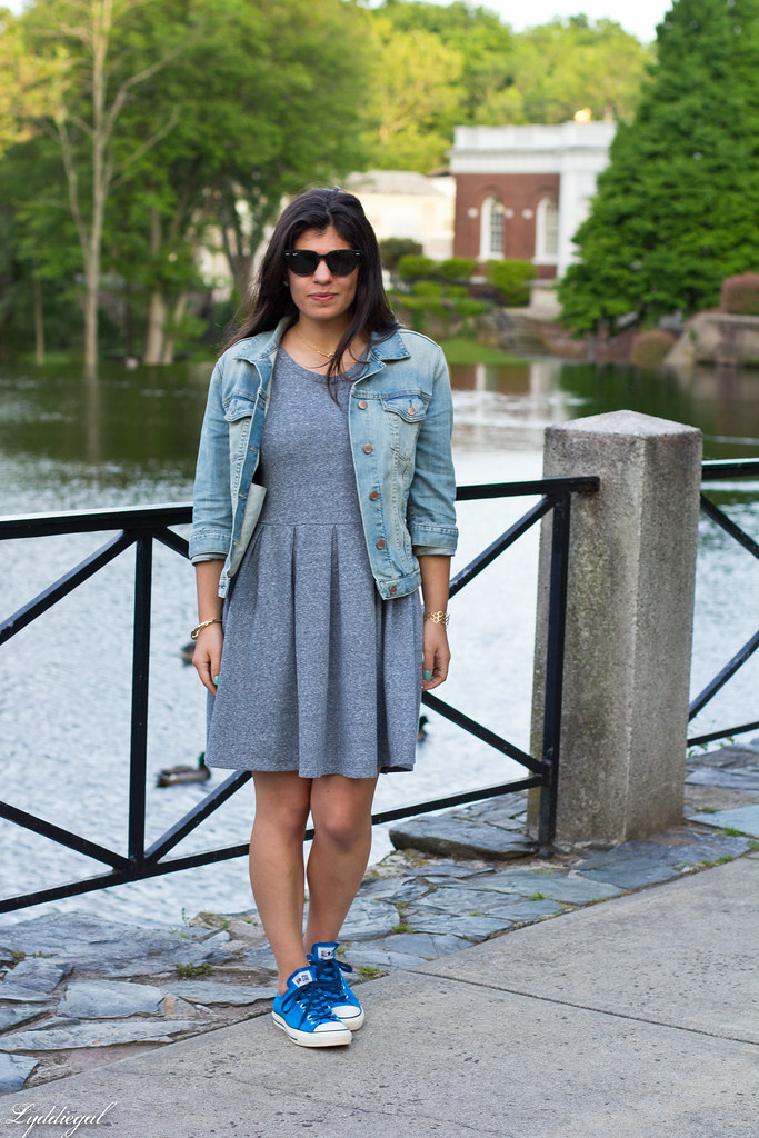 grey sweatshirt dress, denim jacket, blue converse sneakers-2.jpg